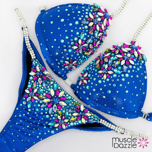 Ready Made Royal blue bikini competition suit (CB590RM)
