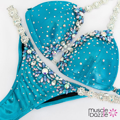 Ready Made Blue bikini competition suit (CB581RM)
