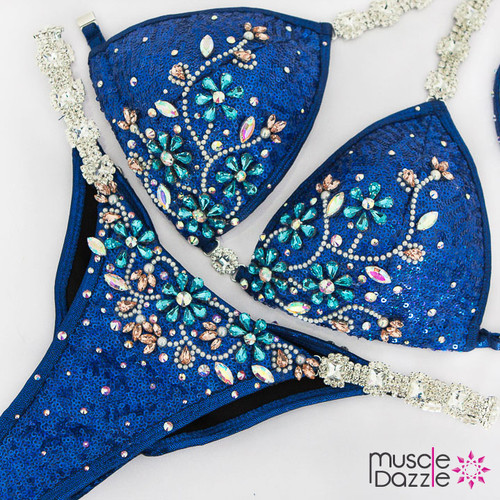 Ready Made Royal blue sequin competition bikini (CB585RM)