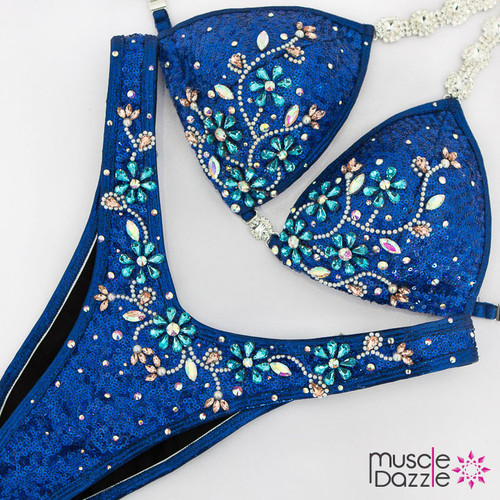 Ready Made Royal blue sequin figure competition suit (FS473RM)