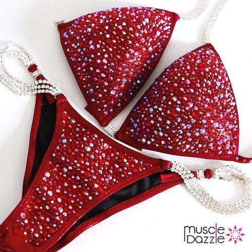 Burgundy Swarovski Competition Bikini (CB201SW)