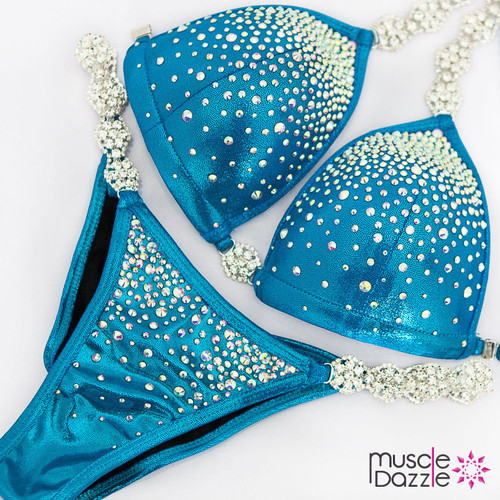 Ready Made Affordable blue competition bikini (CB597RM)