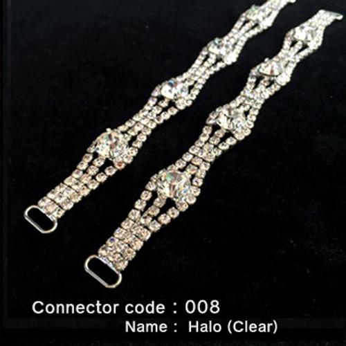 Set of 2 x Rhinestone Bikini Connectors - Halo Style with Clear Stones (008)