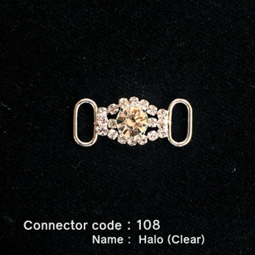 Middle Connector for Bikini Top - Halo Style with Clear Stone (108)