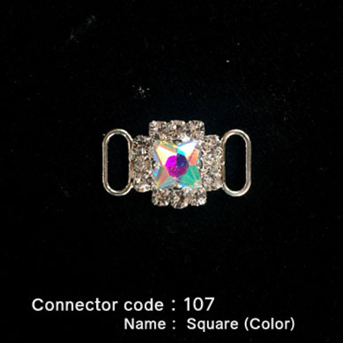 Middle Connector for Bikini Top - Square Style with Colored Stone (107)