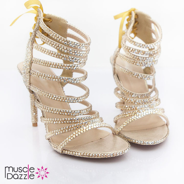 Strappy Gold and Silver Crystal High Heel Sandals
