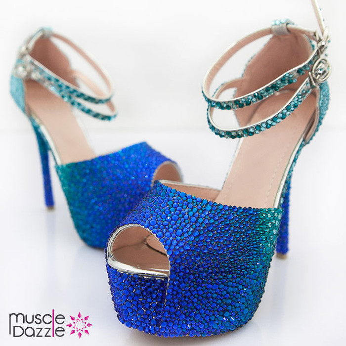 Crystal Rhinestone Competition Heels | Blue Crystal Blend
