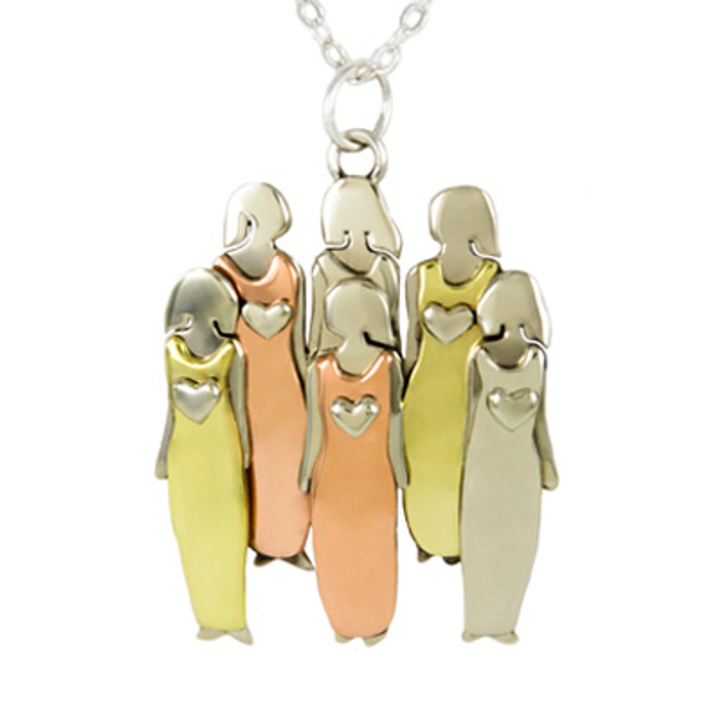 Six sisters or six best friends pendant with chain fair trade mima oly six sisters or six best friends pendant with chain mozeypictures Choice Image