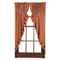 Burgundy Star Prairie Curtains