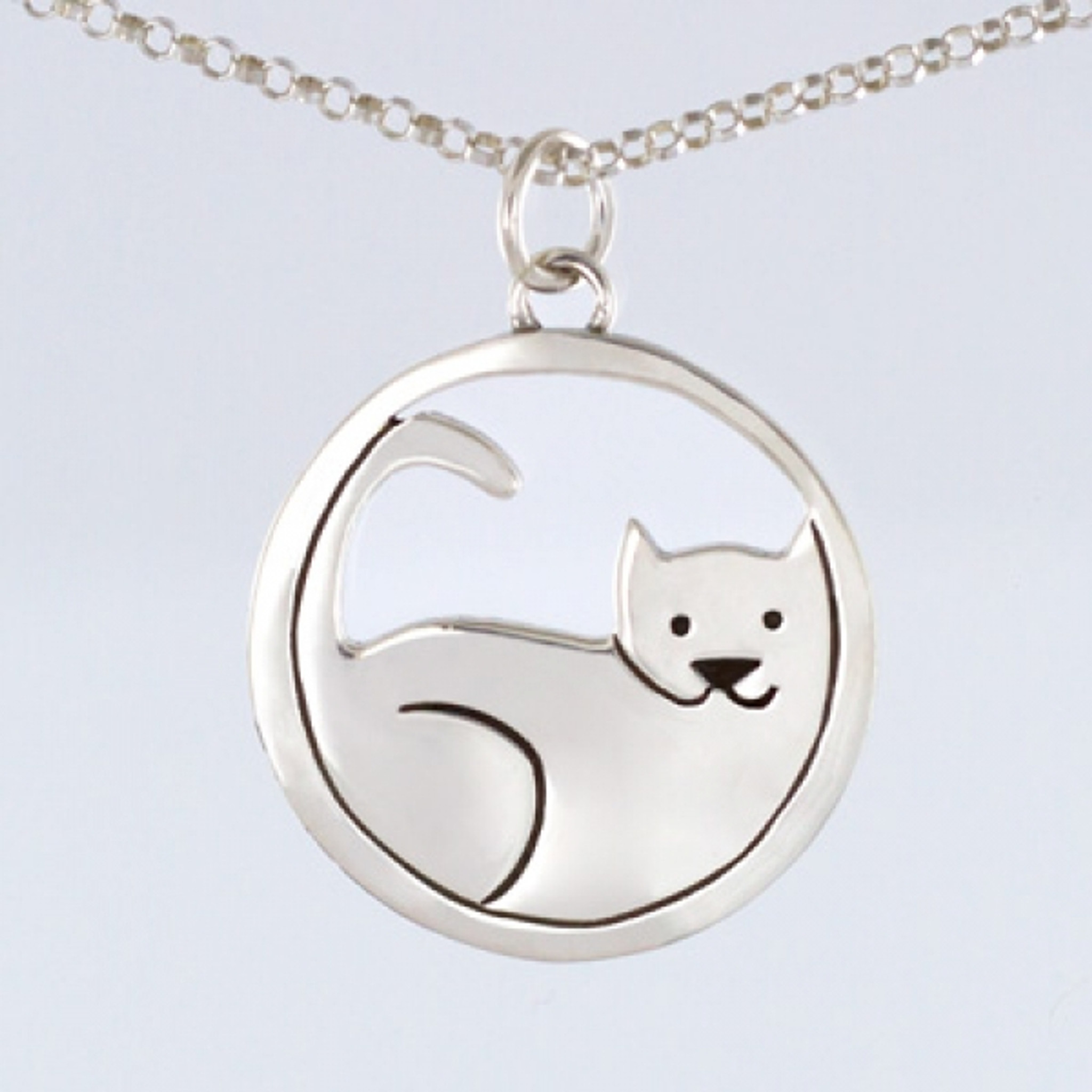 Sterling silver cat pendant with chain silver necklace sterling silver cat pendant with chain fashion jewelry aloadofball Images
