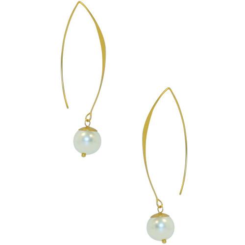 Faux Pearl Earrings in 24k Gold-plate