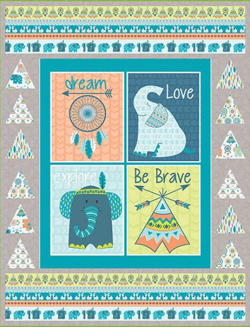 Boho Baby Quilt #1 - Blue