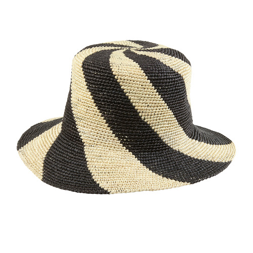 Ladies Crochet Monochrome Striped Panama
