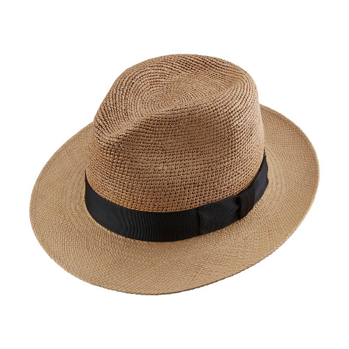 Crochet Crown Snap Trilby Panama Hat - Cinammon