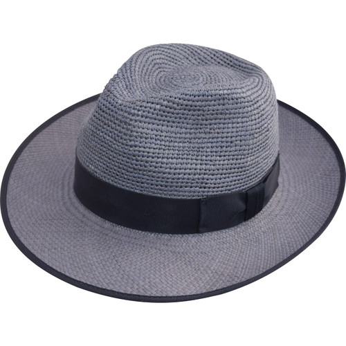 Crochet Crown Trilby Panama Hat, shown in Blue, with Navy band and trim