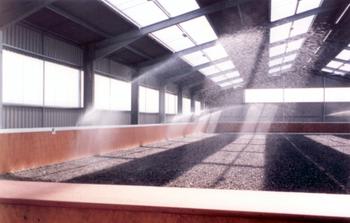 Indoor riding arena irrigation