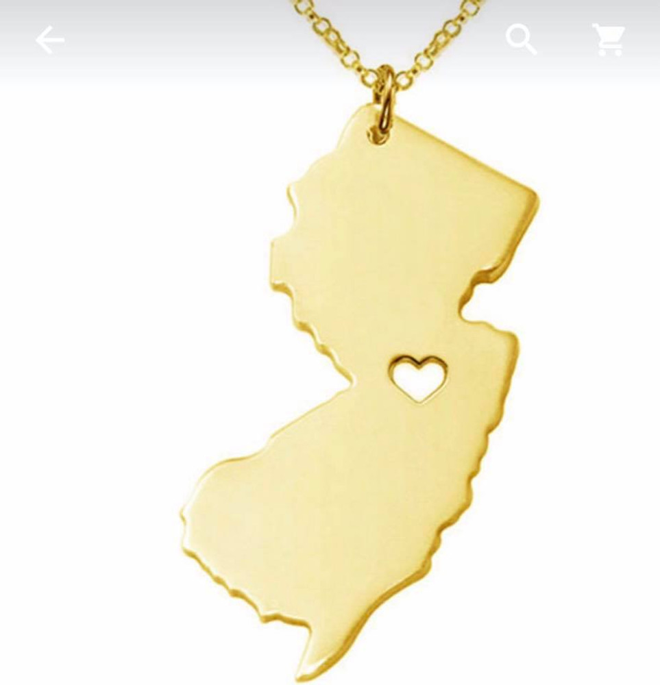 NJ State Gold Necklace