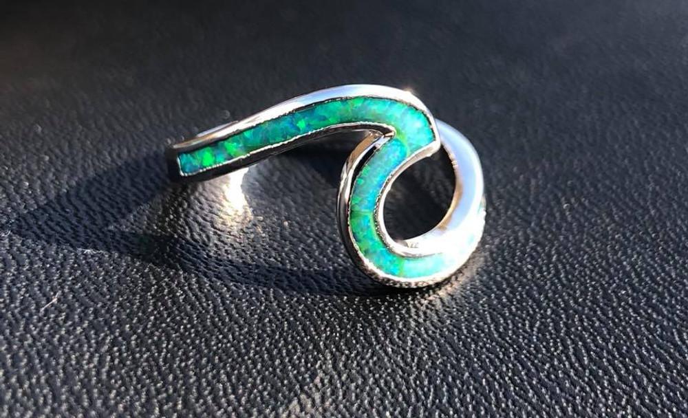 Opal Fire Green Wave Ring