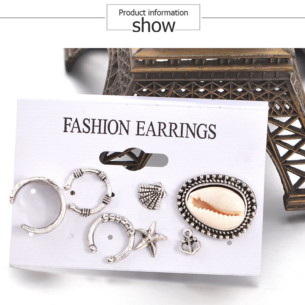 Bohemian Starfish Anchor Shell Stud Earrings Set 2017 Vintage Silver Color Round Ear Cuff Earrings for Women Jewelry