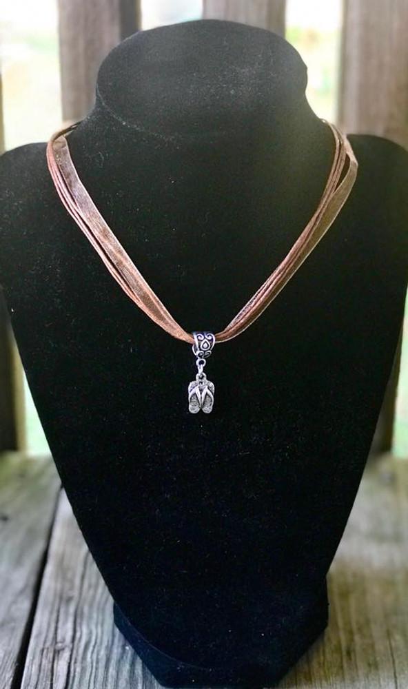 Vintage Flip Flop Brown Organza Rope Necklace
