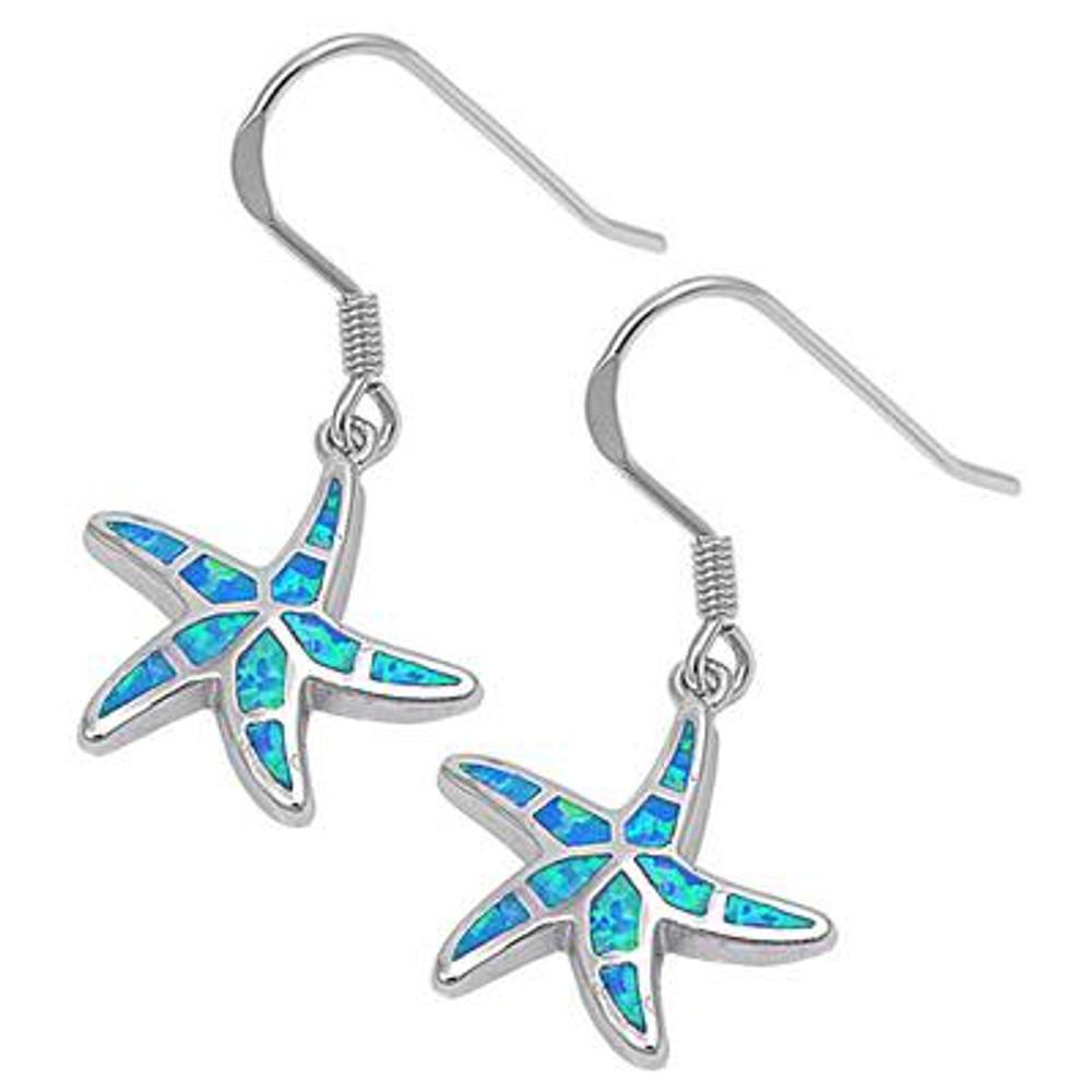 Sterling Silver Blue Lab Opal Starfish Earrings