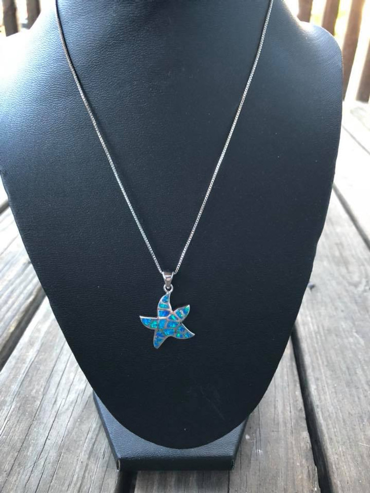 Blue Opal Starfish Necklace