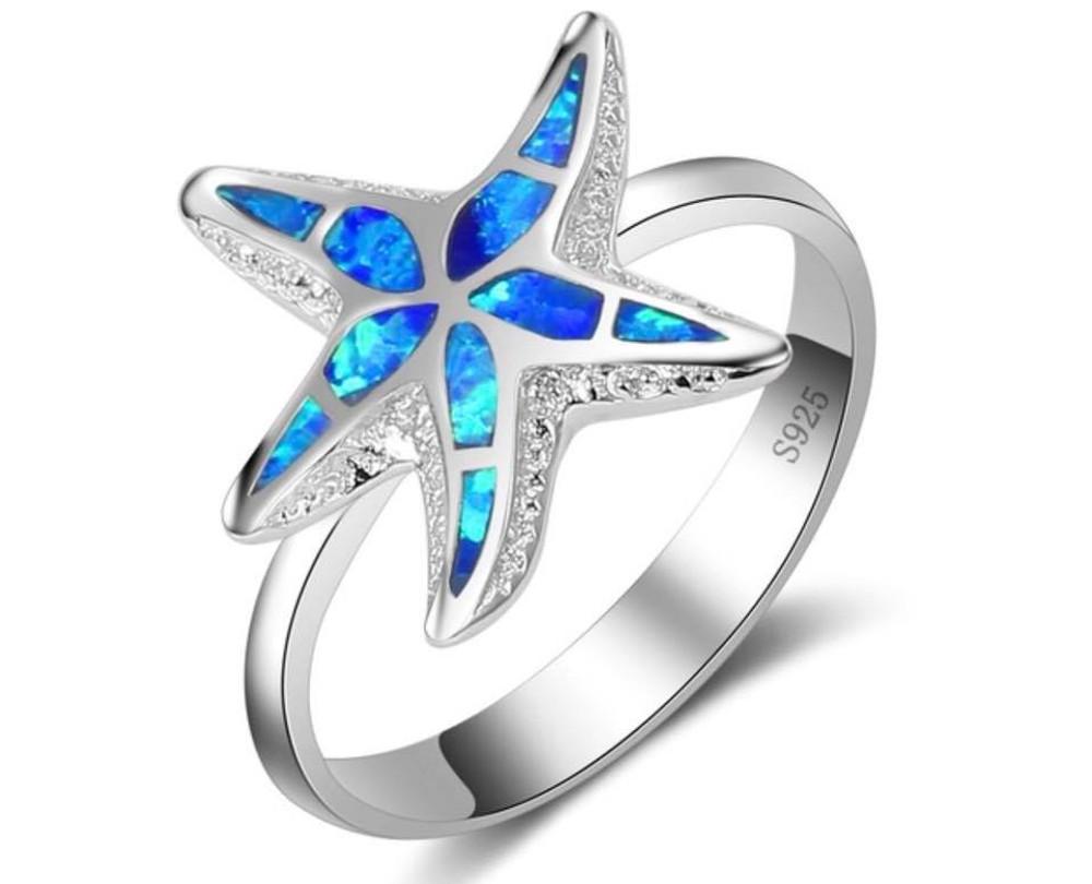 Starfish Blue Opal Ring
