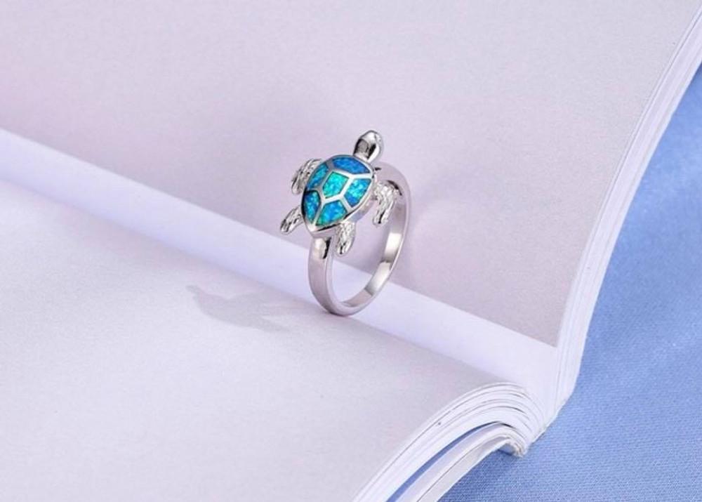 Blue Opal Turtle Ring