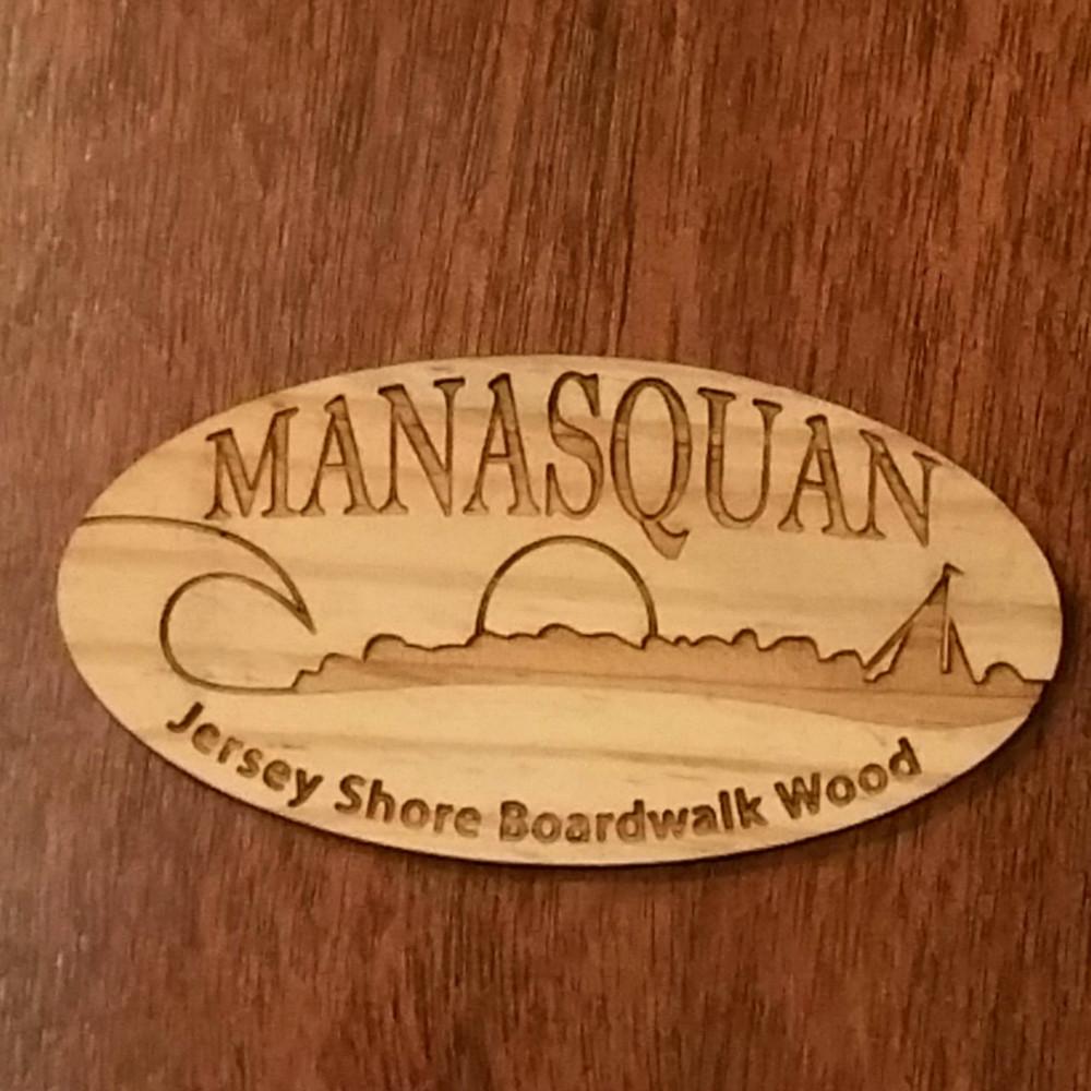 Manasquan Authentic Jersey Shore Boardwalk Wood Magnet