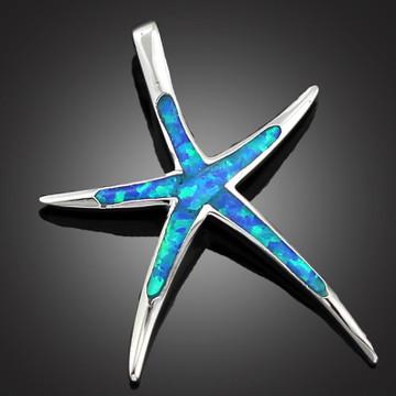 Necklace Pendant Opal Fire Starfish Pendant 1 1/4''