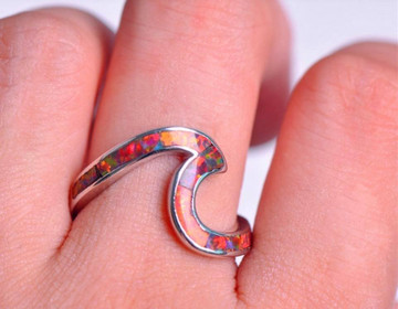 Red Fire Opal Wave Ring