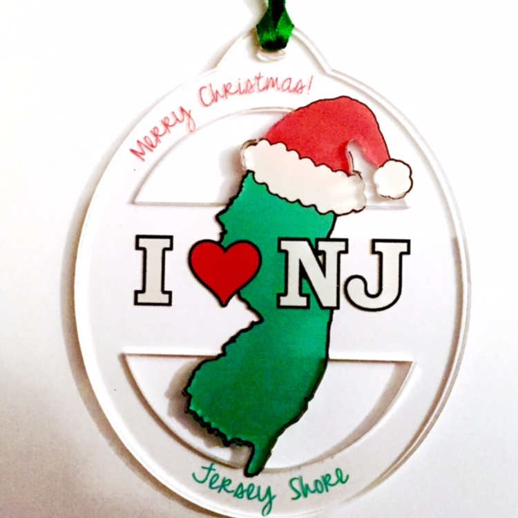 Clear Acrylic I ♡ NJ Ornament