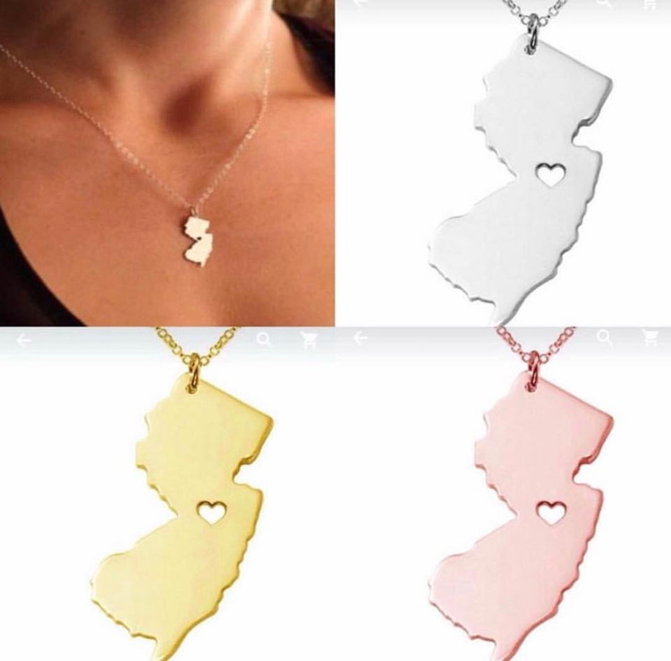 NJ State Stainless Steel Necklace
