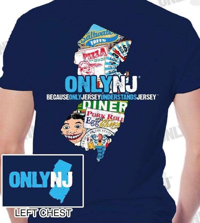 NJ state map t-shirt