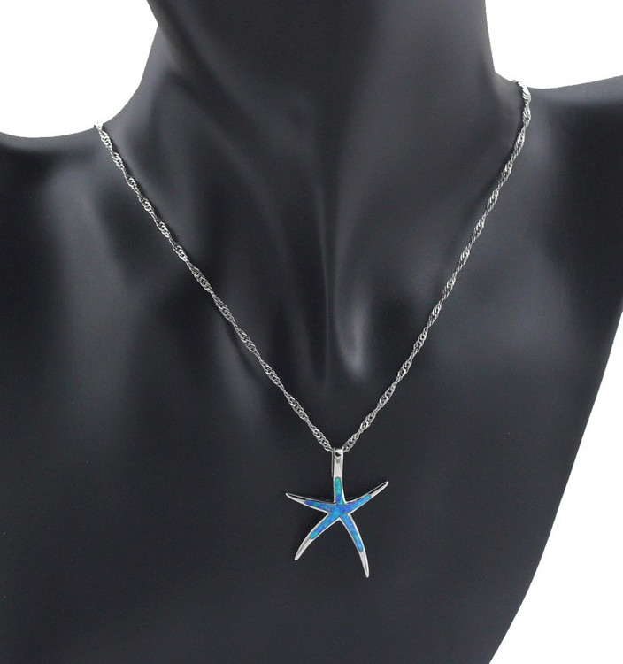 Necklace Pendant Opal Fire Starfish Pendant 1 1/4''
