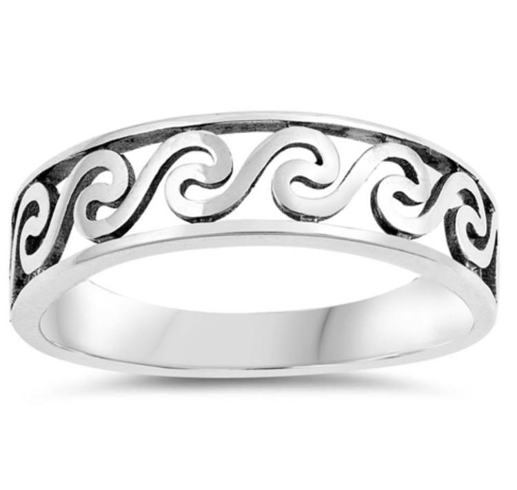 Sterling Silver Filigree Wave Ring