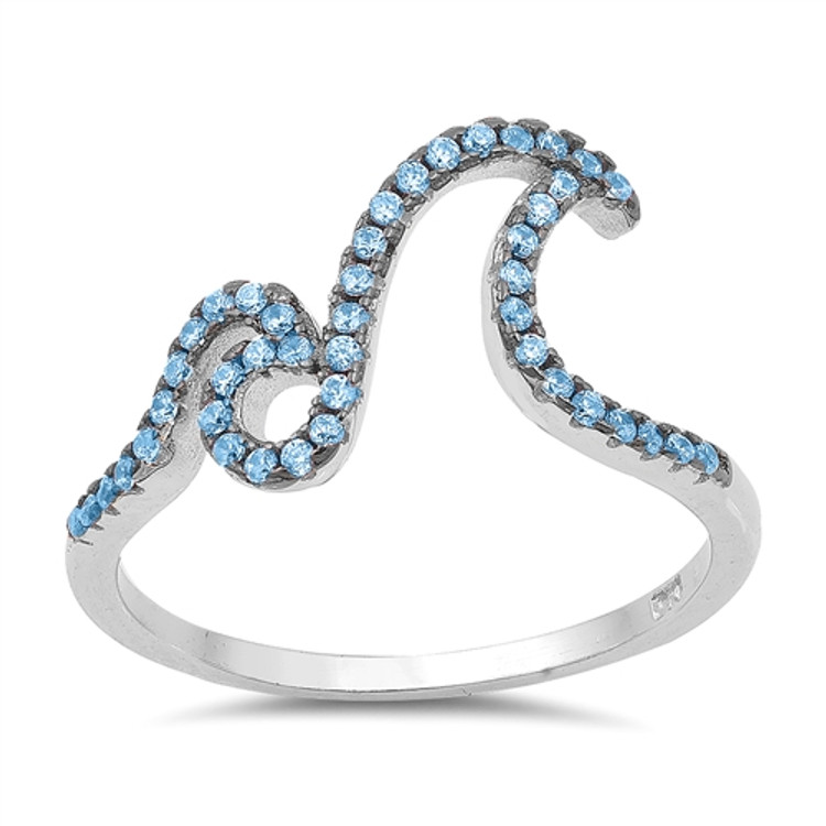 Blue Topaz CZ Sterling Silver Double Wave Ring