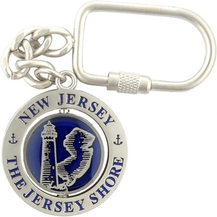 Key Ring Rotator New Jersey Navy Pewter