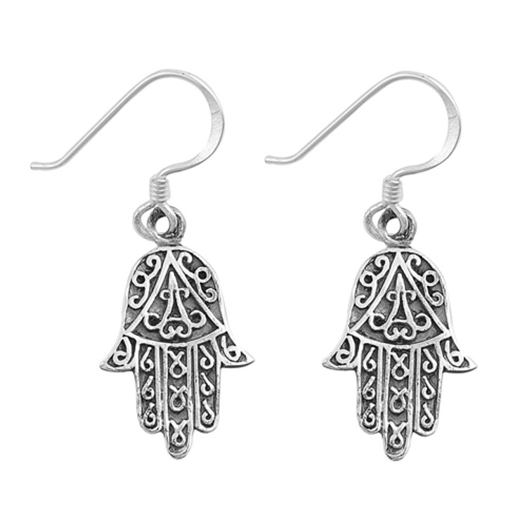 Sterling Silver Hamasa Earrings .63 inches