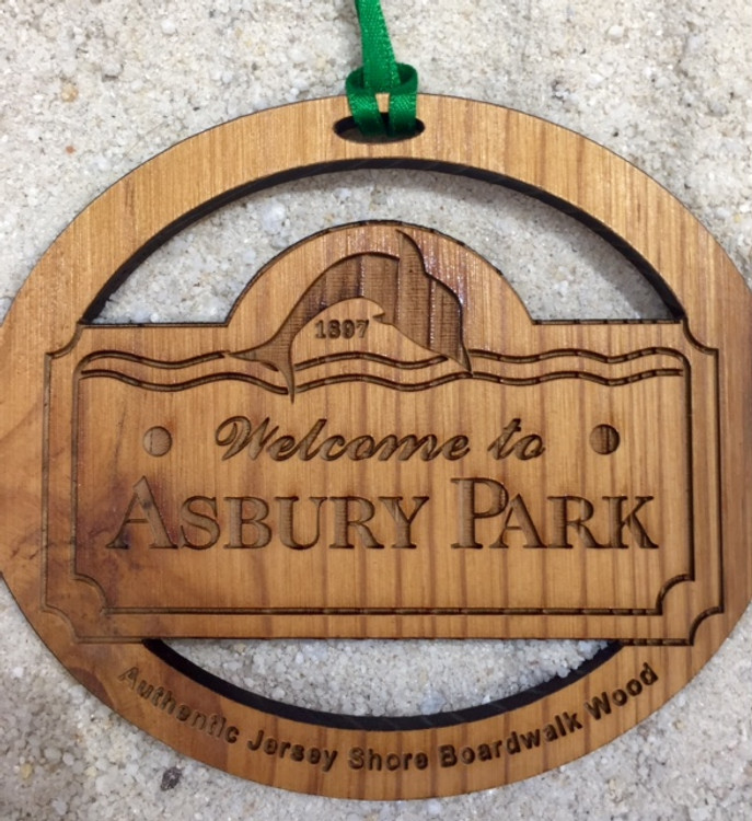 Welcome To Asbury Park Authentic Jersey Shore Boardwalk Wood Ornament