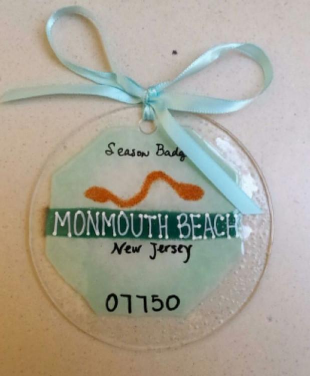 Monmouth Beach Badge Handmade Ornament/Sun Catcher