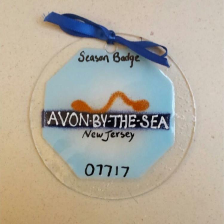 Avon By The Sea Beach Badge Handmade Ornament/Sun Catcher