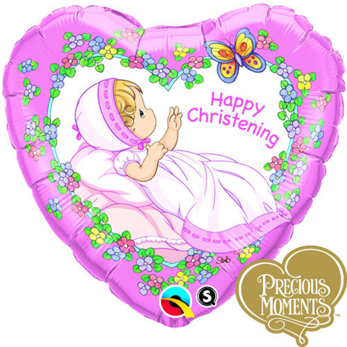 Precious Moments Baby Shower Party Supplies: Precious Moments Christening Girl Heart Foil Balloon (18in