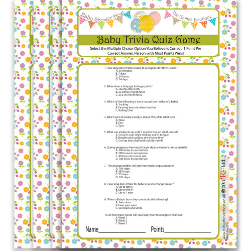 Baby Shower Quiz Trimester Tester Game 8 Baby Celebrations