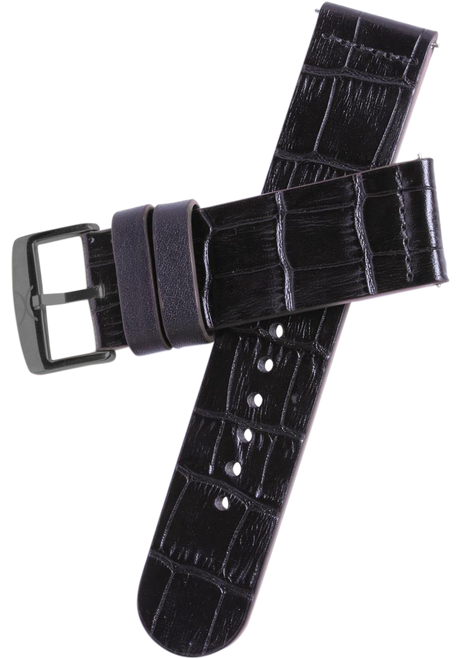 Xeric 22mm Black Croc Leather Strap with Gunmetal Buckle (HLG-3017-STRAP)