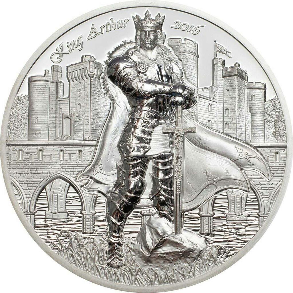 2016 LEGENDS OF CAMELOT - KING ARTHUR 2 oz Silver Coin Cook Islands