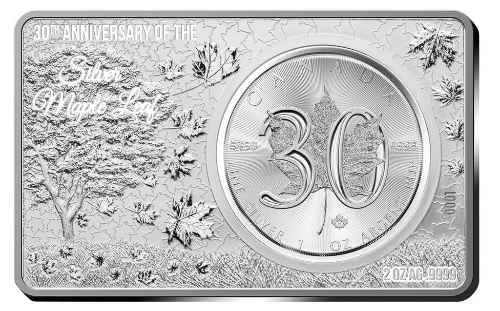 2018 3 oz 30th Anniversary CANADA MAPLE LEAF Silver Bar and Coin Set Box COA