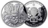 """2017 Gargoyles & Grotesques """"SPITTER"""" Notre Dame  Silver Coin Tchad 1000 Francs  PROOF"""