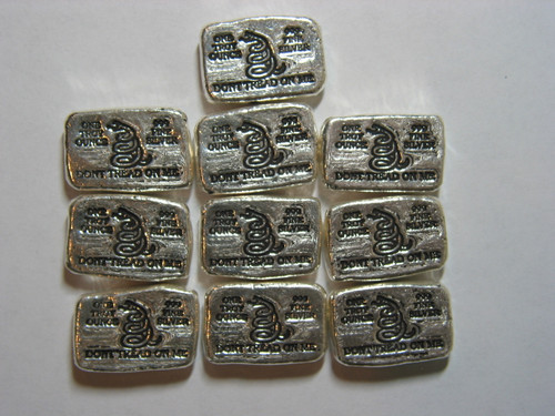 "(10x) 1 oz Hand Pour Silver Bar STACKERS MINT Series ""DONT TREAD ON ME"" 2015"