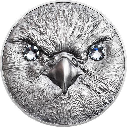 2016 Wildlife Protection - SAKER FALCON 500 Tugriks 1oz Swarovski & Silver Coin - Mongolia